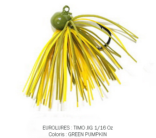 PAYO TIMO JIG 1/16 Oz GREEN PUMPKIN GREEN FLAKE (x 2)