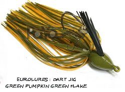 PAYO DART JIG 3/4 Oz GREEN PUMPKIN GREEN FLAKE